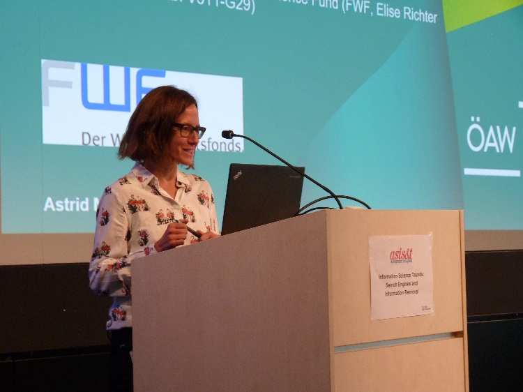 Astrid Mager speaking at the ASIS&T European Chapter event at HAW Hamburg